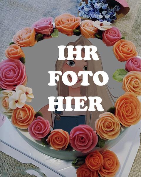 Geburtstagstorte Mit Blumen Verziert Bilderrahmen - Geburtstagstorte Mit Blumen Verziert Bilderrahmen