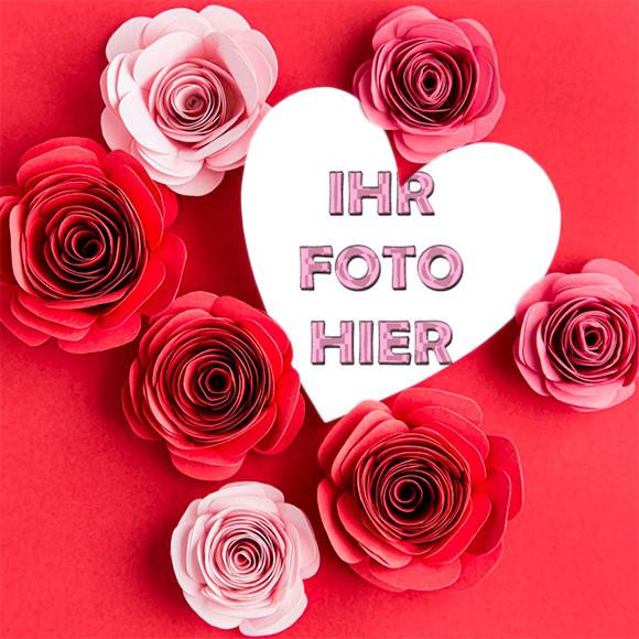 Herz Mit Roten Rosen Romantisch Bilderrahmen - Herz Mit Roten Rosen Romantisch Bilderrahmen