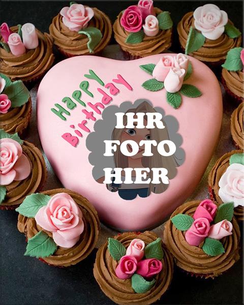 Rosa Kuchen Herzfoermiger Kuchen Bilderrahmen - Rosa Kuchen Herzförmiger Kuchen Bilderrahmen
